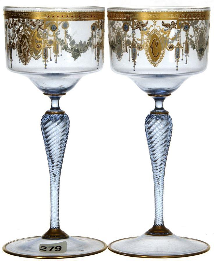 ПОДПИСАН МОЗЕР бледно-голубой художественные стекла рейнвейна с эмалью золотой декор STENCIL и полых TWIST STEMS