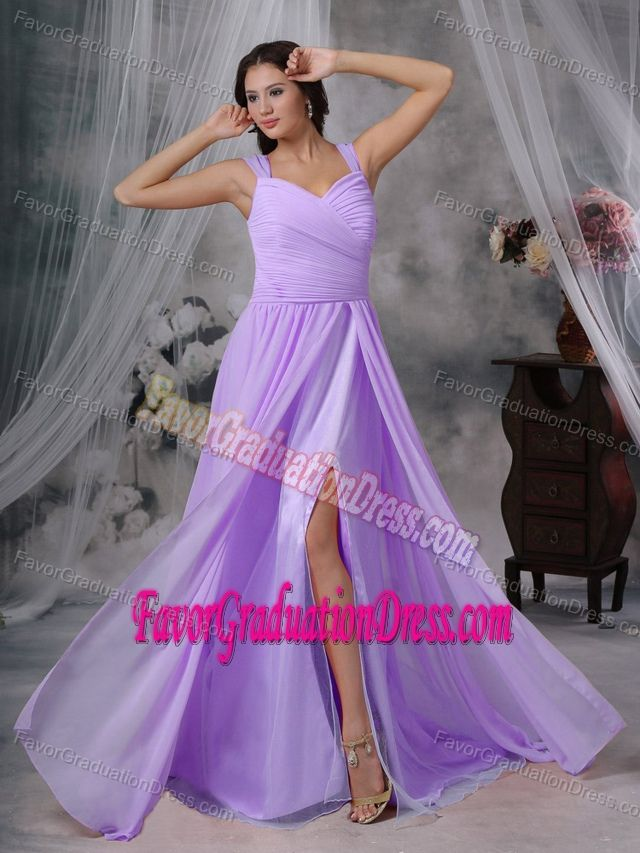 Chiffon Pleated Brush Train 5th Grade Graduation Dresses in Lavender