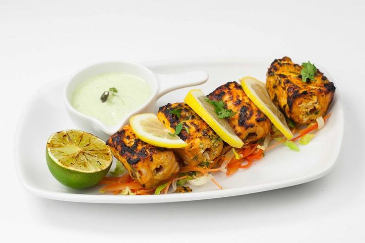 Salmon tikka at Salt 'n Pepper, Leicester Square. http://www.opentable ...