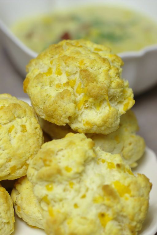 Creamy Corn Chowder and Cheddar Biscuits | food | Pinterest