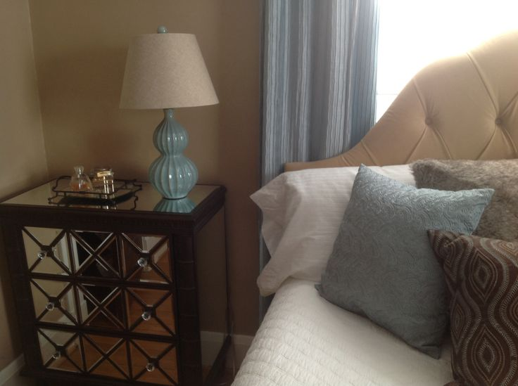 new beside table from homegoods and lamp and pillows from t j maxx. Black Bedroom Furniture Sets. Home Design Ideas