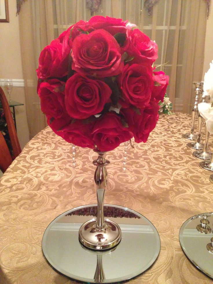 Rose ball centerpiece drowning in weddings pinterest