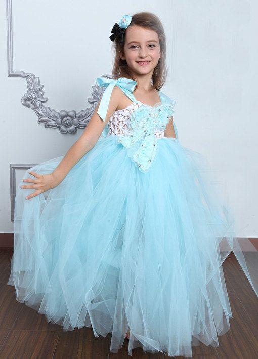 Christmas light blue girl Tutu Dress birthday party wedding flower gi ...