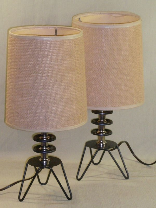 pair vtg mid century hair pin base table night stand lamps. Black Bedroom Furniture Sets. Home Design Ideas