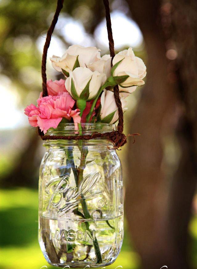Mason jars hanging in trees reception reh dinner pinterest - Stemmed mason jars ...