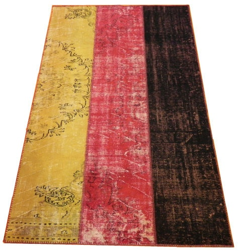 PATCHWORK RUG In German Flag Design Made From Old amp S Antique