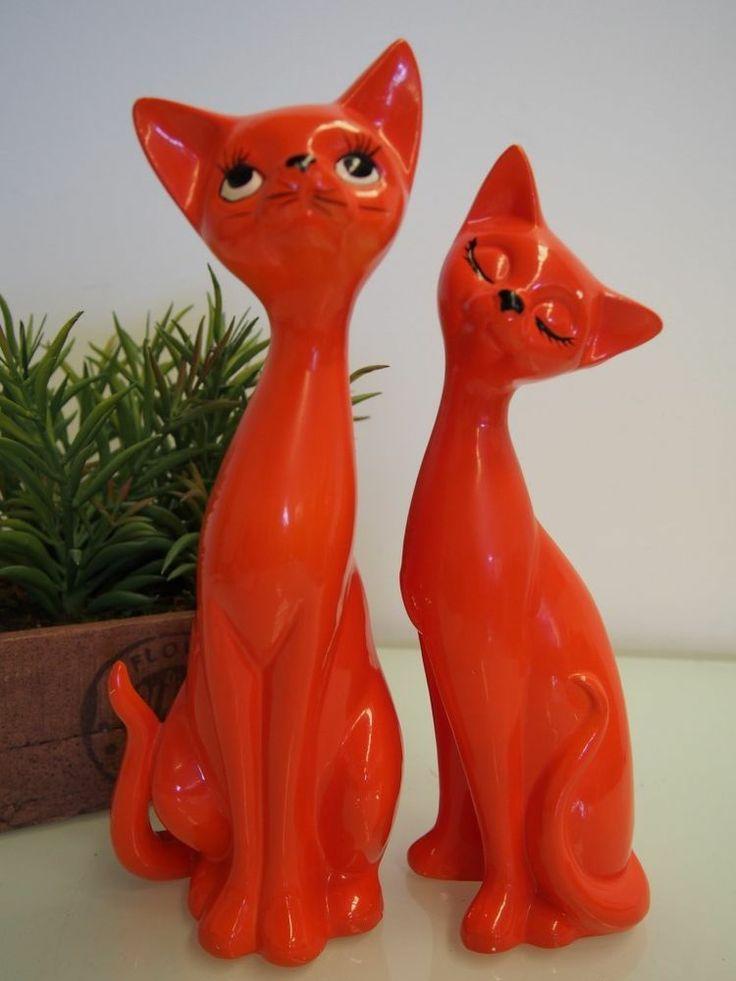 Funky Retro Vintage Tall Orange Ceramic Cats Salt