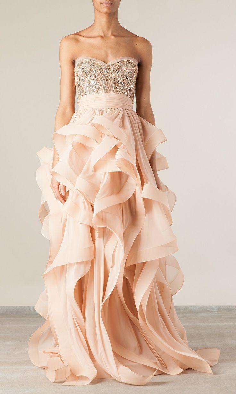 Blush Wedding Dress Reem Acra : Reem acra blush wedding gown found on nudevotion