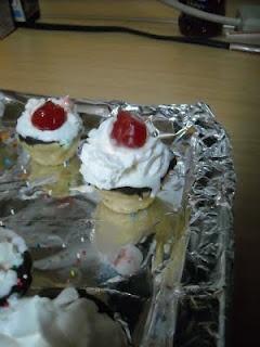 Mini Ice Cream Sundaes complete with cookie 'cups'.