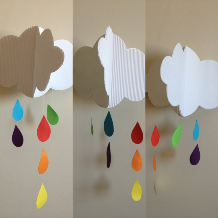 Rainy cloud 3D paper mobile