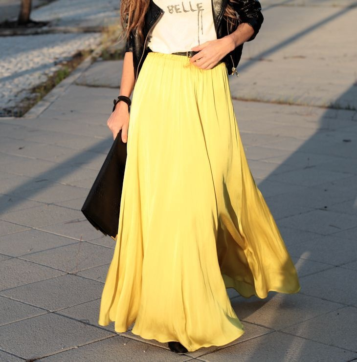 Yellow maxi pleated skirt fashionista pinterest