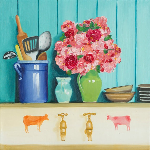 Hand painted cows beside the taps in the country by KicoART from the UK
