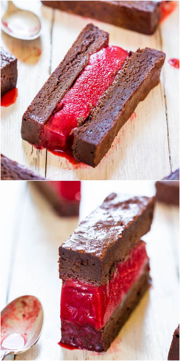 Fudgy Brownie and Raspberry Ice Cream Sandwiches - Look at the fudge ...