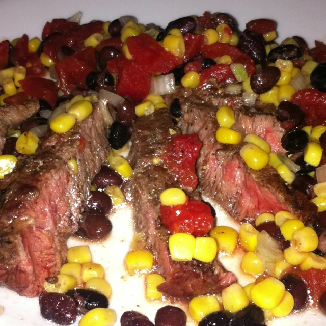 ... Good Recipe Grilled Flank Steak with Black Beans Corn and Tomatoes