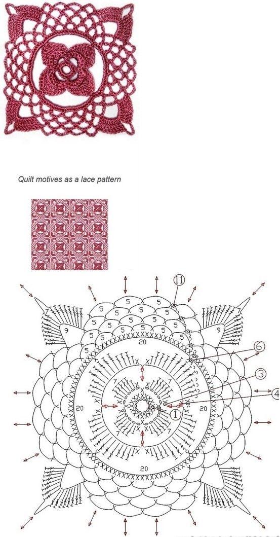 Crochet square lace motif
