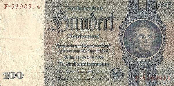 100 marek niemieckich z 1924 r.