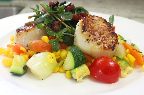... seared scallops with carambola sauce parsnip and succotash food