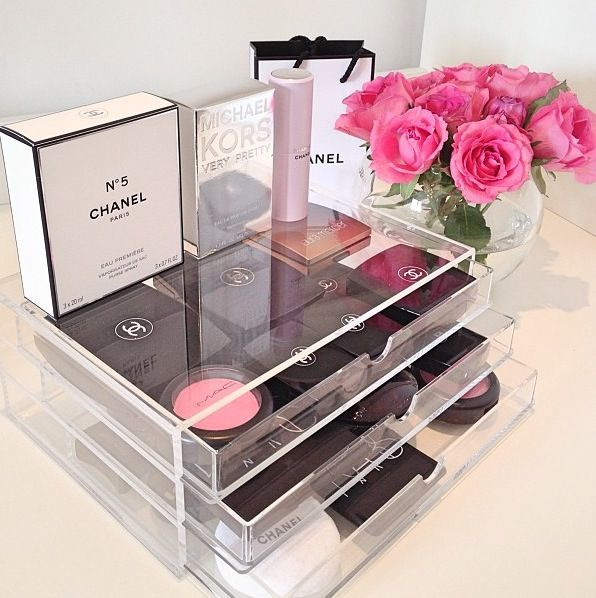 Acrylic cosmetic storage with beauty storage and Chanel make up!