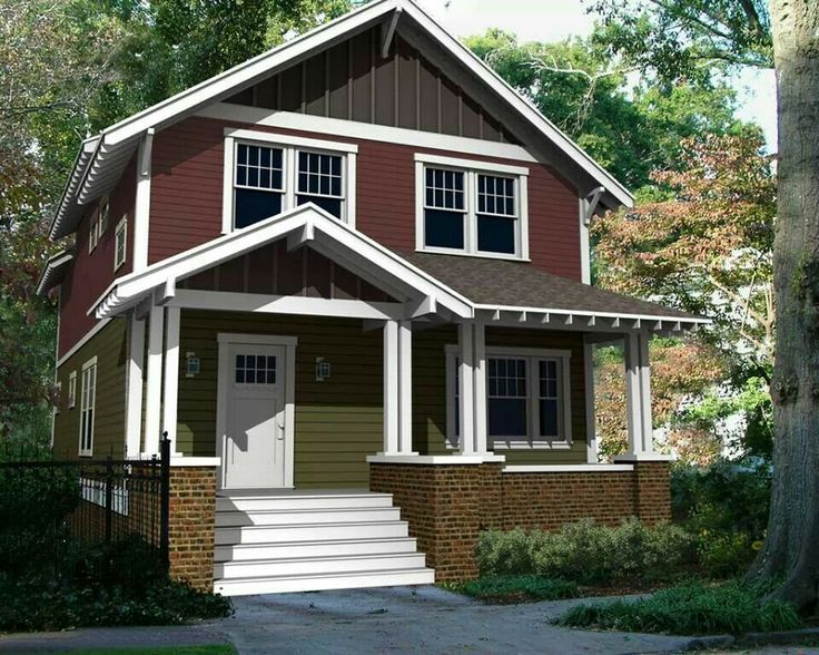 Two story arts crafts house house plan pinterest for Arts and craft homes