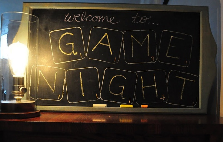Game Night....totally throwing a game-night party! would be soooo fun to do Pictionary on a HUGE blackboard or whiteboard. + cocktails + appetizers (FUN!)