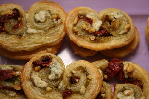 Palmiers with Goat Cheese, Pesto, and Sun Dried Tomatoes. Yum!