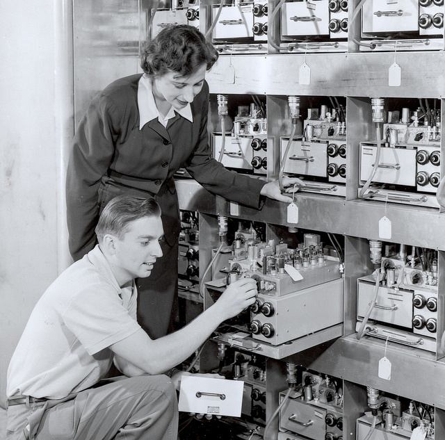 Margaret Butler helps assemble the ORACLE computer with Oak Ridge National Laboratory engineer Rudolph Klein. In 1953, ORACLE was the world's fastest computer. Designed at Argonne, it was constructed at Oak Ridge. Butler was a pioneering scientist who spent her career at the forefront of computer science and nuclear energy. Her spirit, drive, and analytical talents led to a lifetime of scientific contributions during an era when women were a rarity in a major scientific setting.