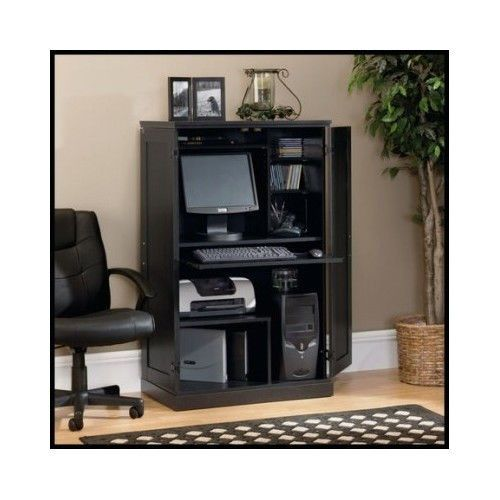 Computer Armoire Hutch Office Home Desk Workstation Furniture Hideaway