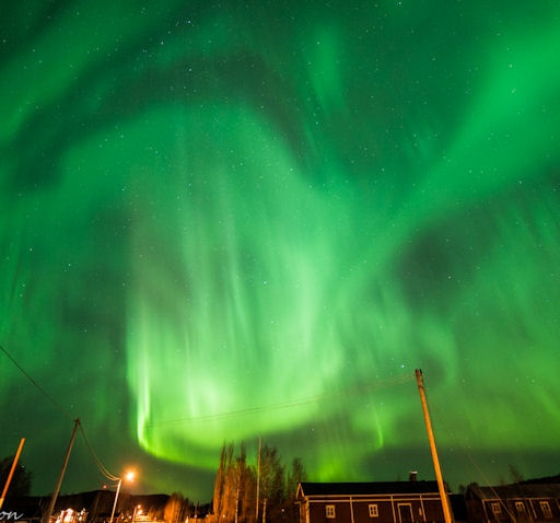 An interplanetary shock wave (probably the leading edge of a CME) hit Earth's magnetic field on Nov. 12th at approximately 2300 UT, filling skies over northern Scandinavia with bright auroras