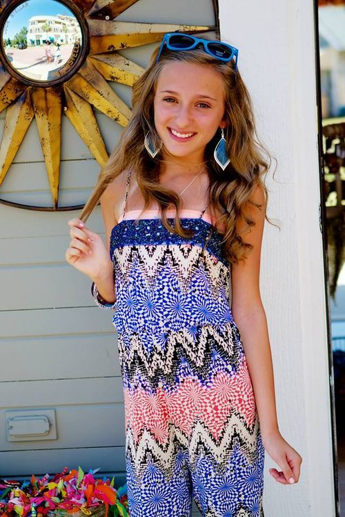 Summer romper in cool graphic pattern mix- blue - tween fashion - kuds clothing