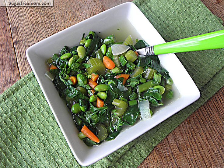 Healthy light veggie soup. Ingredients: canola oil, garlic, onion ...