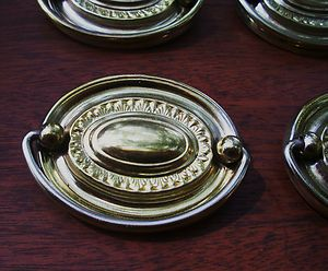 Federal Hardware Hepplewhite Sheraton Antique Drawer Pull Oval 2 1/2