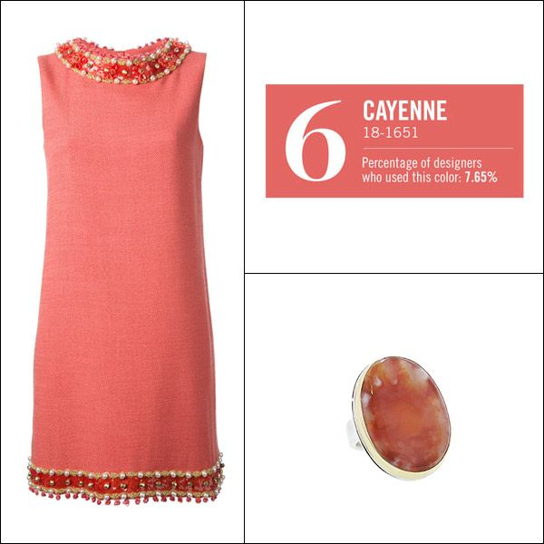 Moschino Dress & Jamie Joseph Ring in Cayenne - Pantone Spring 2014 Color Trends - Harper's BAZAAR