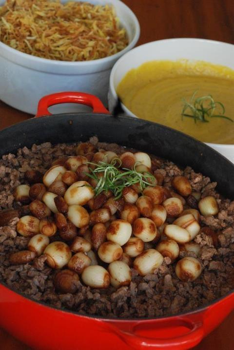 Filet mignon with wine sauce (picadinho), banana pure and sweet potato ...