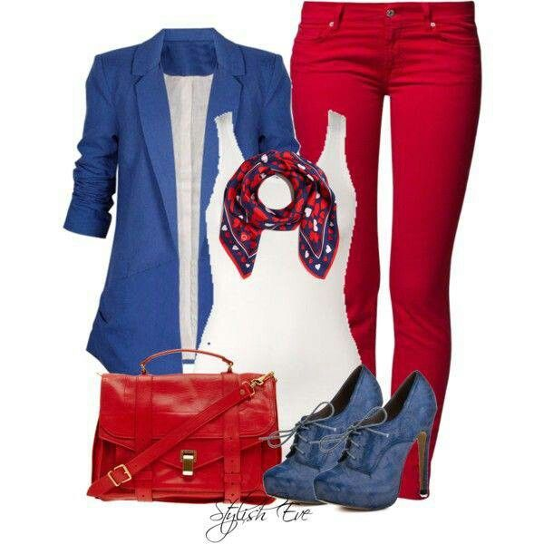 Red White and Blue Outfit | fashion | Pinterest