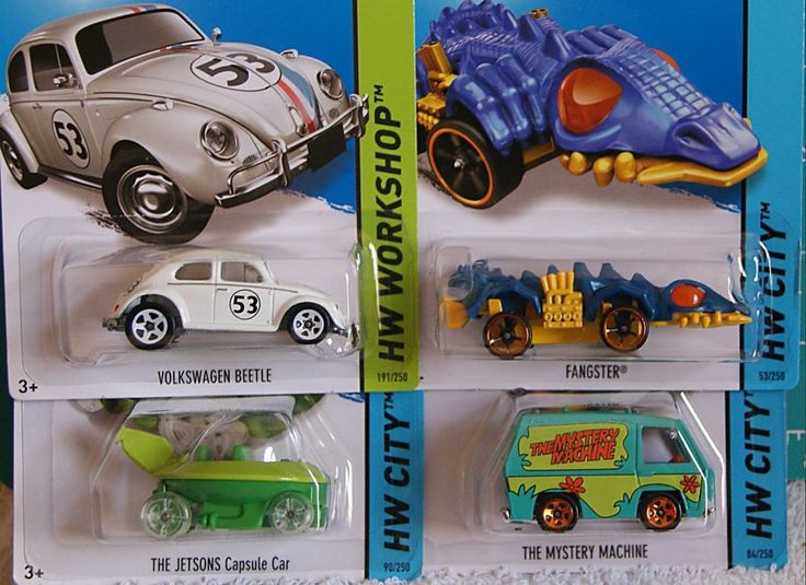 2014 Hot Wheels 4): LOVE BUG, SCOOBY-BOO, JETSONS & Treasure Hunt