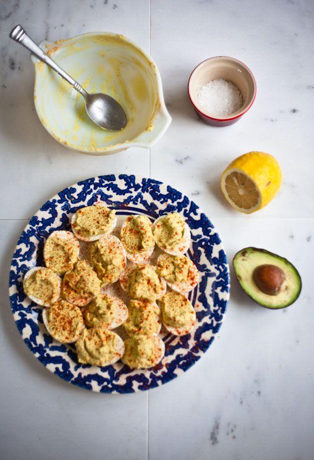 Avocado Deviled Eggs - YUM! Add a drop of sriracha chili sauce and a ...