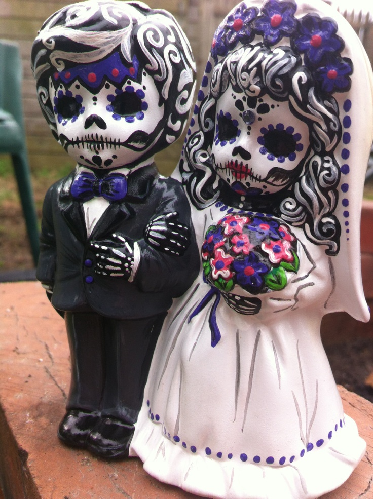 day of the dead hand painted ceramic wedding cake topper 75 00 via