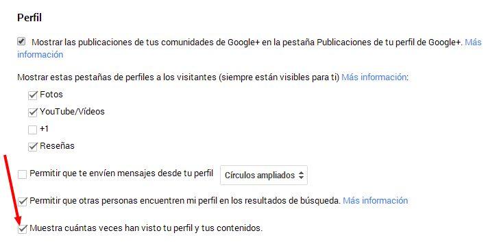 opciones google+