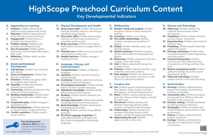 various curriculum models in pre school And model the highscope active participatory learning approach activities — each activity has a built-in progression so children of different developmental and ability levels can the highscopre preschool curriculum.