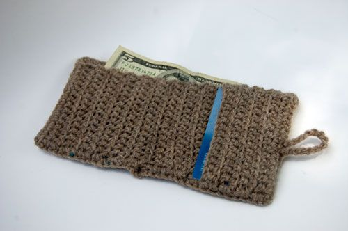 Crochet Wallet : Wool Striped Wallet (interior view) Crochet bags Pinterest