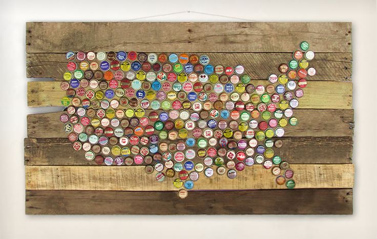 Bottle cap united states map map map pinterest for Crafts to do with beer bottle caps