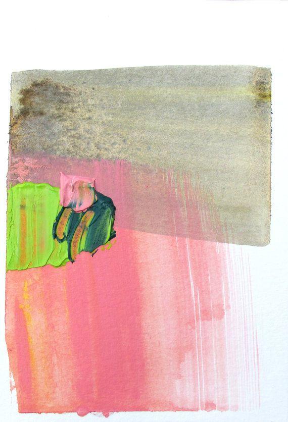 Minimal landscape art pink brown grey green 4 x 6 for Minimal art landscape