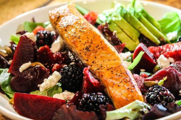 beets, blood oranges, greens, avocado, salmon, blackberries ...