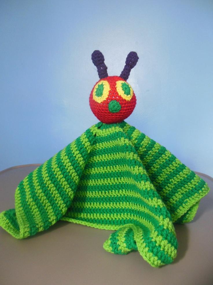 Knitting Pattern Very Hungry Caterpillar : Caterpillar Crochet Security Blanket,Lovey baby blanket Boys Girls Baby Showe...