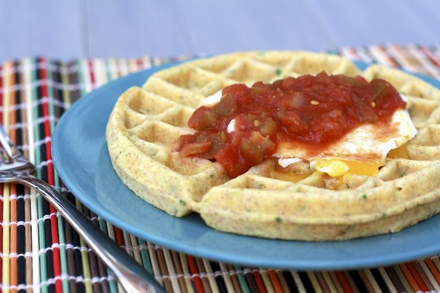 Savory Cornmeal and Chive Waffles with Salsa and Eggs slightly adapted ...