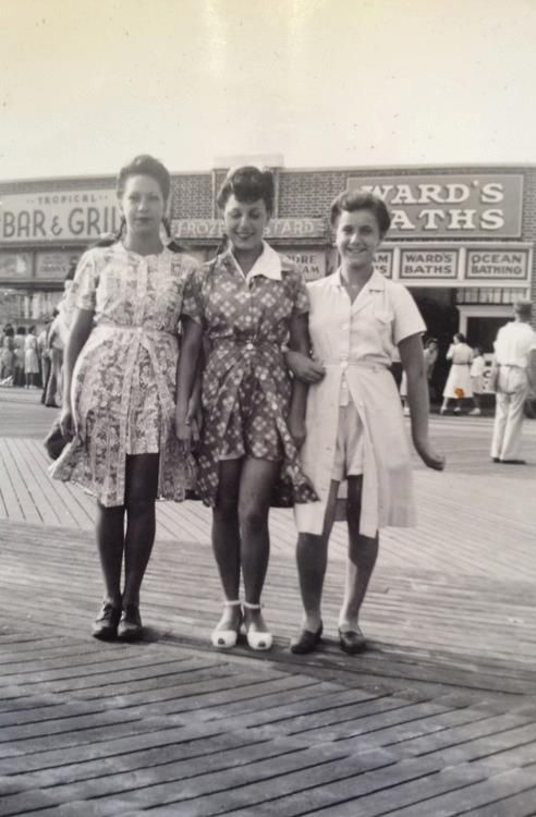 Girls in playsuits on the boardwalk c.1940s