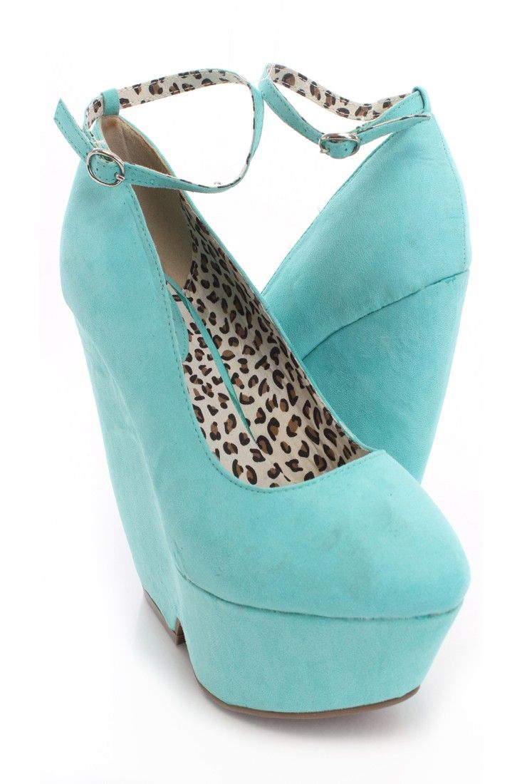 Mint Faux Suede Ankle Strap Wedges