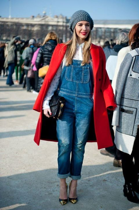 denim dungarees + red coat