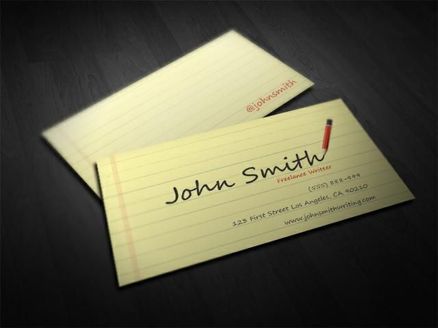 Writer business card template business cards pinterest for Author business cards example