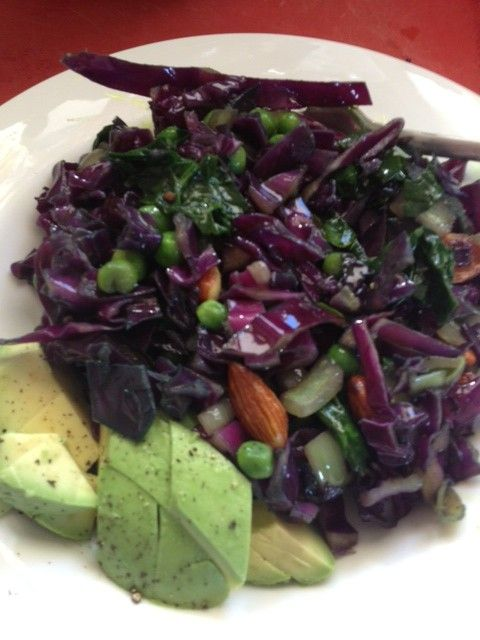 ... Monday: red cabbage and almond stir-fry with a side of avocado